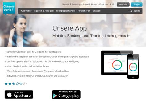 Das Mobile Banking bei der Consorsbank