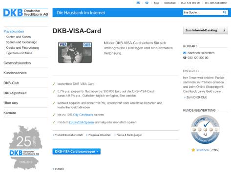 Die Konditionen der DKB-VISA-Card im Überblick