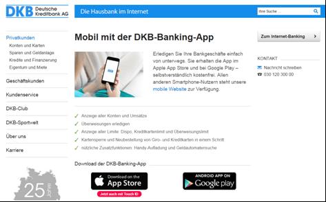 Das Mobile Banking-Angebot von DKB