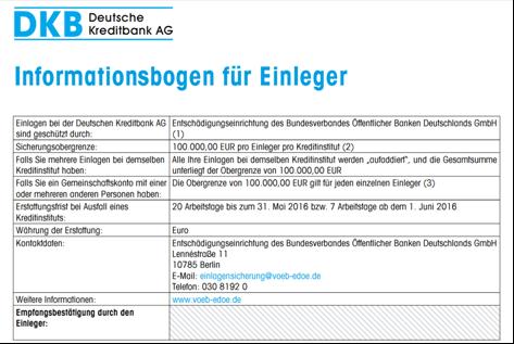 Der Informationsbogen von der DKB
