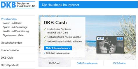 Die Startseite der DKB