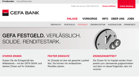 Das Festgeldkonto der GEFA Bank
