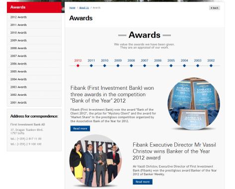 Die Auszeichnungen der FiBank