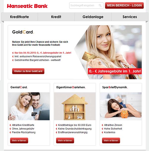 Webseite der Hanseatic Bank