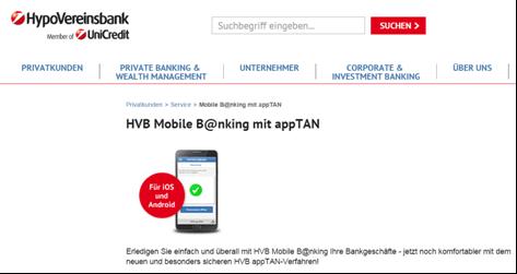 Das Mobile Banking bei der HypoVereinsbank in den Girokonto Erfahrungen