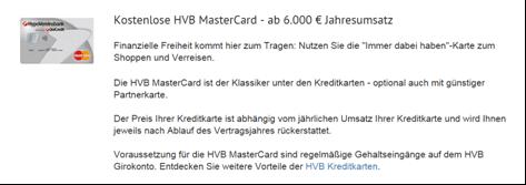 Das Kreditkartenangebot von der HypoVereinsbank - Girokonto Erfahrungen