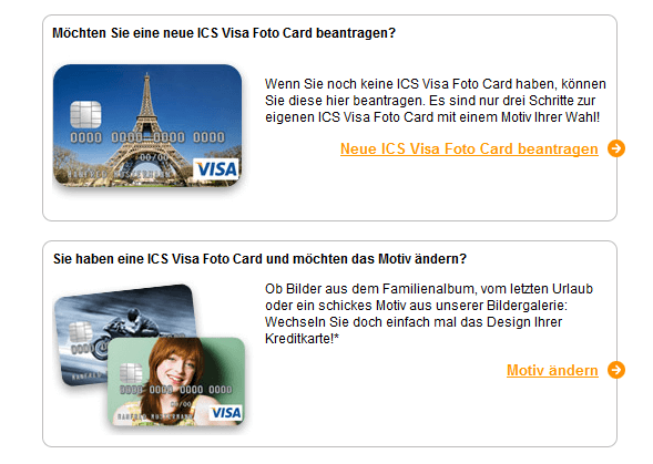 Kreditkarte mit individuellem Motiv