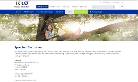 Die Kontaktseite der IKB