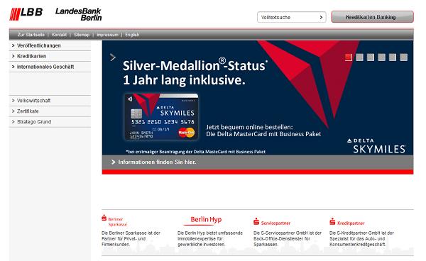 Der Webauftritt der Landesbank Berlin