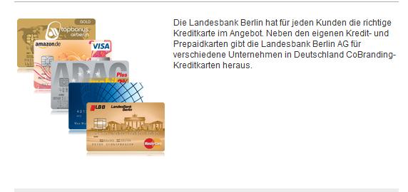 Kreditkartenangebote bei der LBB