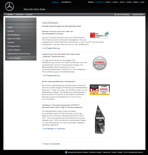 Die Auszeichnungen der Mercedes-Benz Bank