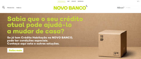 Die Website der Novo Banco