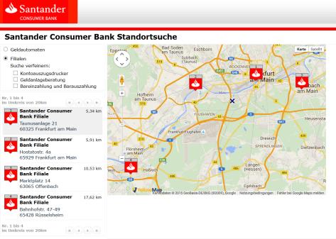 Die Standortsuche der Santander Consumer Bank