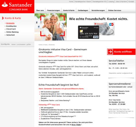Das Girokonto der Santander Consumer Bank