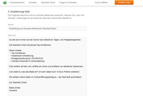 Die Empfehlungs-Mail für den Werbebonus von 10 Euro