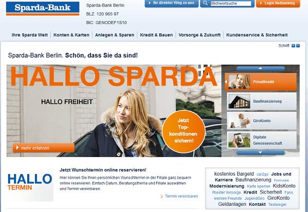 Die Webpräsenz der Sparda Bank Berlin