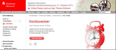Das Online-Angebot der Sparkasse Hannover