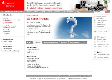 Die Kontaktseite der Sparkasse Hannover