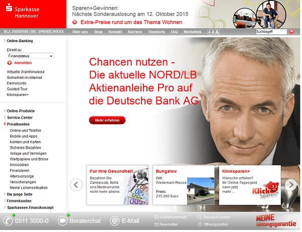 Die Webseite der Sparkasse in Hannover