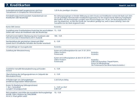 Das Preis- und Leistungsverzeichnis der Targobank
