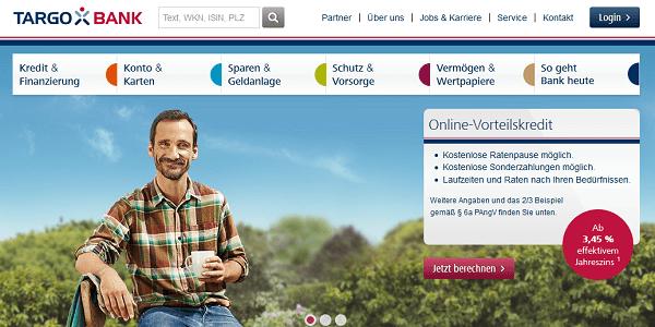Die Webseite der Targobank