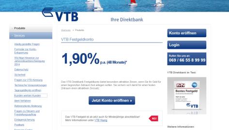 Hohe Zinsen bei der VTB Direktbank