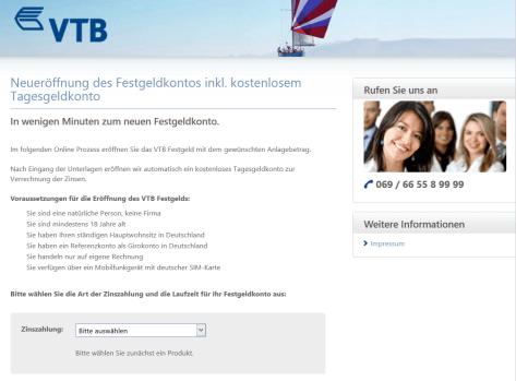 Das Kontoeröffnungsformular der VTB Direktbank