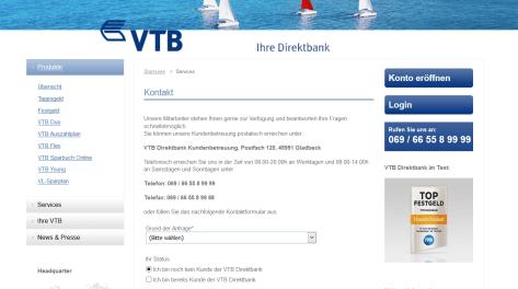 Kontaktmöglichkeiten bei der VTB Direktbank