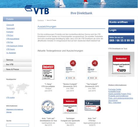 Die Auszeichnungen der VTB Direktbank im Überblick