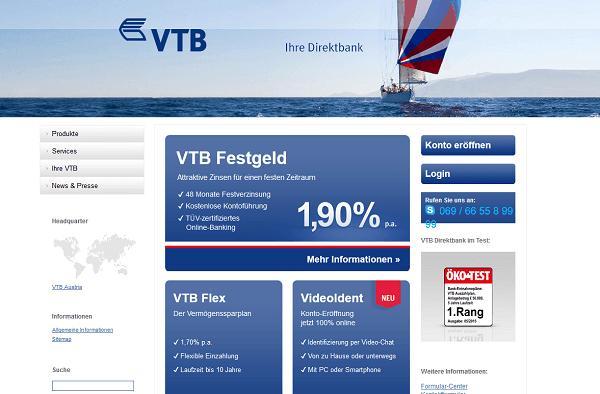 Die Webseite der VTB Direktbank