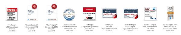 Vielfach ausgezeichnete Produkte der VTB Direktbank