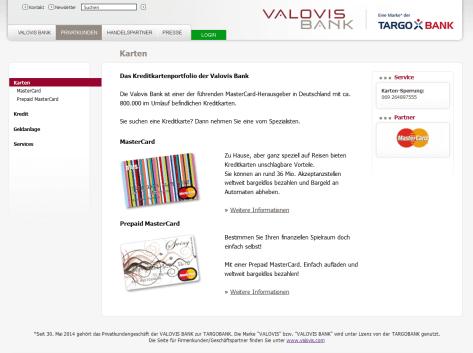 Das Kreditkartenangebot der Valovis Bank im Überblick