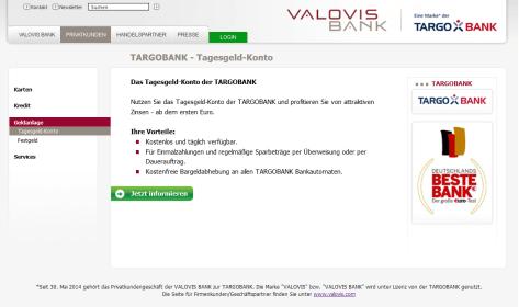 Das Tagesgeldkonto der Valovis Bank