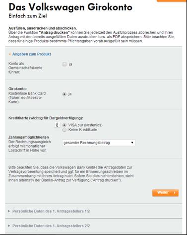 Das Antragsformular bei der Volkswagen Bank