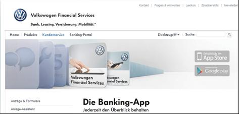 Die Banking App bei der Volkswagen Bank