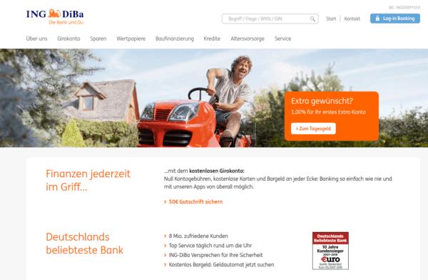 Die Homepage der ING-DiBa