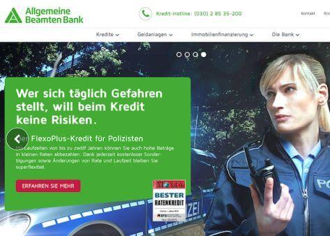 Die Homepage der Allgemeinen Beamten Bank