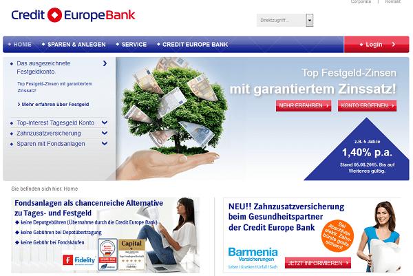 Die Webseite von Credit Europe Bank