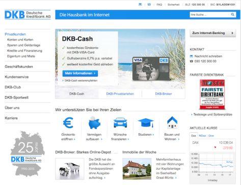 Webseite der DKB