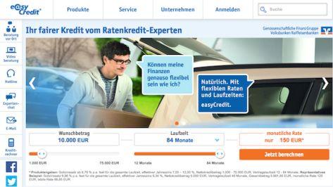 So sieht die Homepage von easyCredit aus