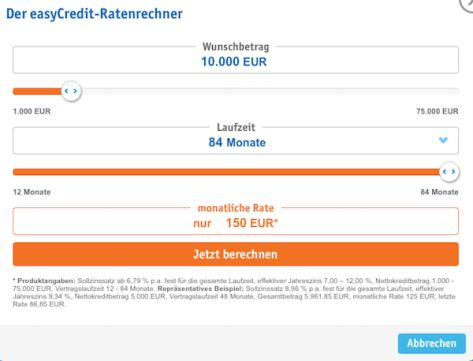 Der Kreditrechner von easyCredit
