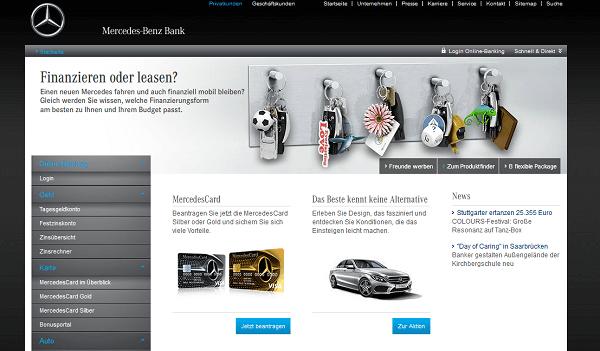 Webauftritt der Mercedes Benz Bank