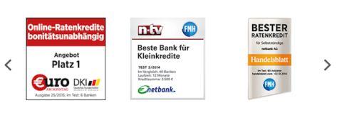 Auswahl an Auszeichnungen der netbank