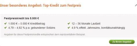 Angebot im Überblick norisbank Festpreiskredit