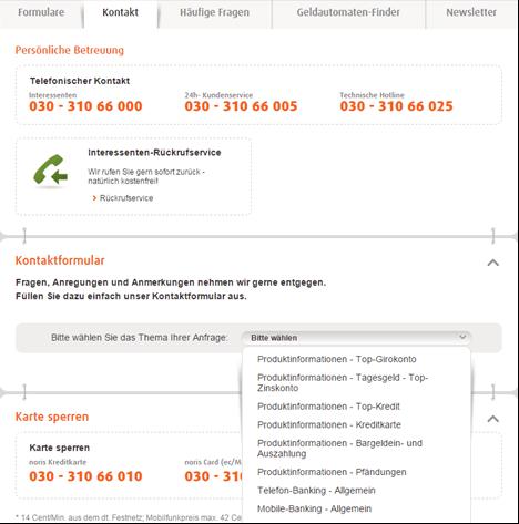 Die Kontaktmöglichkeiten der norisbank
