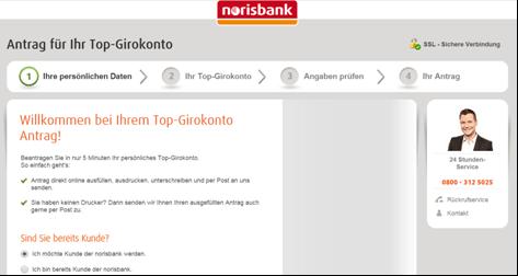 Das Antragsformular von der norisbank