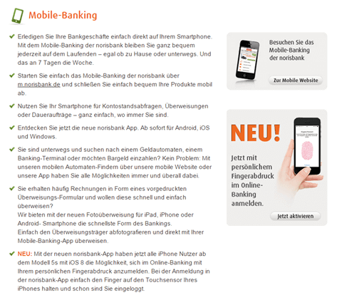 Das Mobile-Banking-Angebot der norisbank