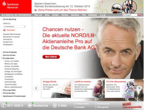 Sie sieht der Web-Auftritt der Sparkasse Hannover aus