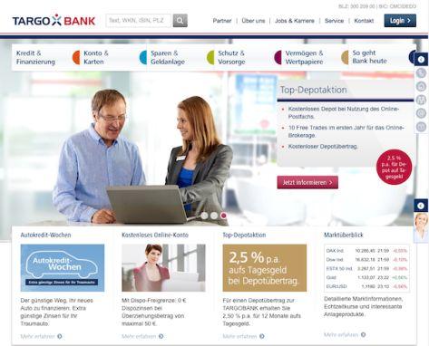 Der Online-Auftritt der TARGOBANK