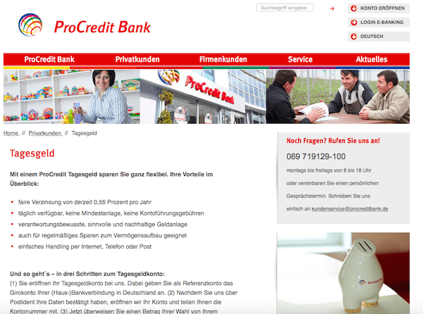 Tagesgeld ProCredit Bank